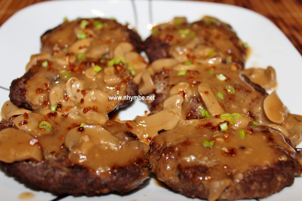 beef burger patties with mushroom gravy